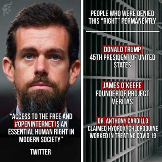 """Twitter is increasingly silencing the voices of anyone that does not agree with their left-leaning agenda, violating their own definition that access to the free and open internet is an """"essential human right."""""""