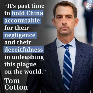Unleashing COVID on the world is the latest in a long line of offenses China has committed recently. The communist country needs to be held accountable for their deception and their crime.  @tomcottonar
