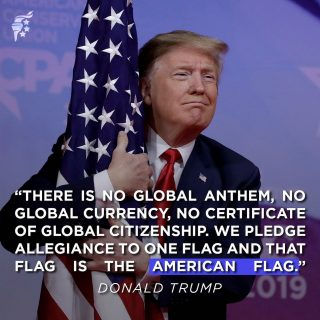 """""""We will never kneel to our National Anthem or our great American flag. We will stand proud and we will stand tall."""" - Donald Trump #FlagDay"""