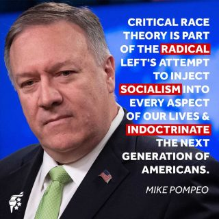 Critical race theory's application necessitates a socialist and Marxist economy and environment. Should it continue to win approval in politics, education, or any other sphere of our lives, the results will only be disastrous.  #criticalracetheory #marxism #americanfreedom   @mikepompeo86